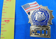 LOT OF 5 DETECTIVE NEW YORK POLICE DEPT 9-11 FLAG MINI BADGE LAPEL PIN