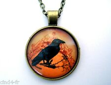 Médaillon vintage +Chaine collier bronze /Medallion +Chain necklace-Crow/Corbeau
