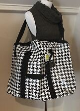 Black & White HOUNDSTOOTH Over Night Duffle Tote bag