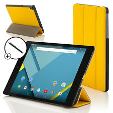 Leather Yellow Folding Case Cover for HTC Google Nexus 9 With Stylus