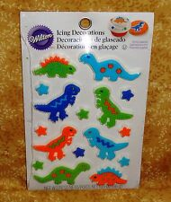 Dinosaur Icing Decorations,CakeTopper,Edible, Wilton,16ct,multi-Color,710-6077
