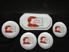 Vintage Treasure Masters Merry Christmas 5 Pc China Dessert Set-Tray & 4 Plates