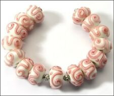 Lampwork Handmade Glass Beads White Pink Swirl Rondelle Loose Jewelry Craft