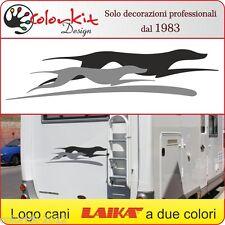 Adesivi cane per camper Laika logo cani a 2 colori cm.120x27 by Colorkit-001319