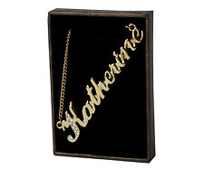 "Name Necklace ""KATHERINE"" - 18ct Gold Plated - Swarovski Elements - Name Plate"
