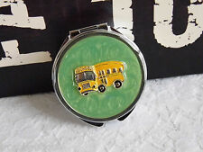 WHOLESALE School Bus PILL BOX STASH PERFUME MINT CANDY COLLECTIBLE mirror compac