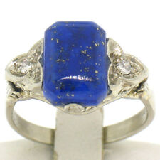 Antique Art Deco 14k White Gold Blue Lapis Lazuli & Diamond Filigree Ladies Ring