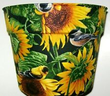 BIRDS FINCHES SUNFLOWERS  PLANTER FLOWERPOT PARTY GIFT BASKET SUPPLIES CONTAINER