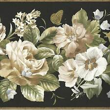 Colorful Flowers - White Yellow Blue on Dramatic Black - Wallpaper Border A323