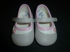 Janie & Jack Baby Girl Beige Pink Mary Jane Crib Shoes Size 1
