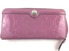 Coach Pink Patent Leather Accordion Wallet Zip Around Clutch