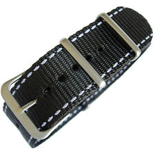 22mm Hadley-Roma MS4220 Black Nylon White Stitch Military G10 Watch Band Strap