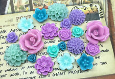 20pcs - Resin Flower Cabochons - Purple/Teal