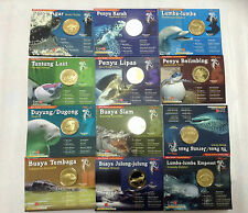 "Malaysia Coin Card ENDANGERED MAMMALS 12pcs Complete Set  ""BU"""