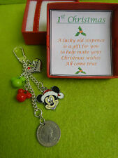 1ST FIRST Christmas Baby's or Together Sixpence Coin Keepsake Mickey Mouse Gift