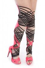 Thigh High Gladiator Boots Stiletto Heels Over Knee High Heel Boots Pink Size 7