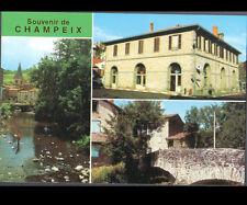 CHAMPEIX (63) PECHEUR à la ligne sur la COUZE , BUREAU DE POSTE , VILLAS & PONT