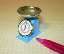 Miniature Blue Metal Grocery Scale w/Removable Bowl, High Detail: DOLLHOUSE 1/12