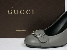 Gucci shoes Pump logo silver emblem buckle grey 10 40