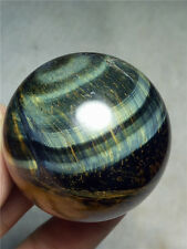 146 g Natural Blue&yellow Tiger's Eye Crystal Sphere Ball A 800
