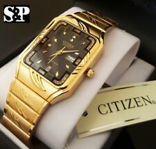 Men Citizen Day Date 24K Gold PT CZ Black Dial Day, Date Luxury Dress Watch