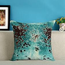 "Turquoise Cowhide Throw Pillow Case Canvas Sofa Cushion Cover Pillowcase 18"" New"