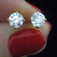 Vintage 1.5 carat Diamonds 14k Yellow Gold Stud Earrings Estate Screw Back