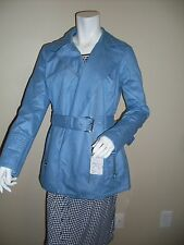 Nwt MICHAEL MICHAEL KORS Light Blue Asymmetrical Zip Trench Rain Coat Jacket