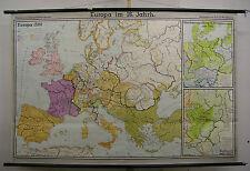 Schulwandkarte Wandkarte Karte Europa 16.Jh. Europe century 203x134 history 1966