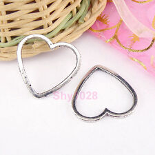 10Pcs Tibetan Silver Heart Links Charm Connectors 24x25mm LA325