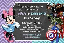 Boys Girls Combined Joint Birthday Party Minnie Avengers Invite Invitation Kids