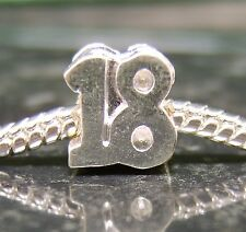Silver plated 18 18th birthday numbers EUROPEAN charm bead