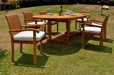 "7 PC DINING TEAK SET GARDEN OUTDOOR PATIO FURNITURE NAPA STACKING 117"" MASC OVAL"