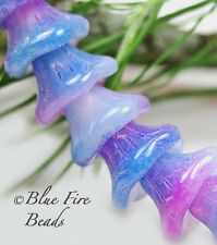 BFB-Premium Czech Glass Bell Flower Beads 7/5mm   *Larkspur / Opal* 15 BEADS