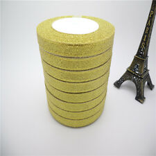 "NEW DIY 5yards 3/8 ""10mm glitter ribbons Bling for Bows and Wreaths decorated ZV"