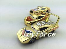 Mattel Disney Pixar Cars Metallic Gold McQueen &Chick Hicks& King Diecast Toy