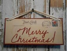 Merry Christmas Vintage Looking Postcard Sign Rustic Country Primitive 9 x 4