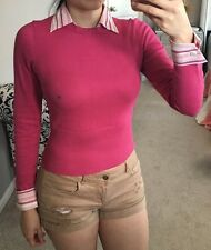 The Limited Fuchsia Hot Pink Faux Striped Collar Cuff Shirt Sweater Top XS
