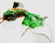 1PC GREEN CHINESE HANDMADE CLOISONNE ENAMEL GOLD FISH CHRISTMAS ORNAMENT