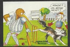 HOWZAT COMIC NEW ZEALAND CRICKET POSTCARD OF A LEG BEFORE WICKET APPEAL c1980