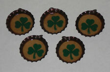 5 St. Patrick's Green Lucky Shamrock Bottle Cap Charm Mini Tree Ornaments