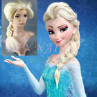 New Frozen Snow Queen Elsa Blonde Braid Cosplay Party lady's Costume long Wigs