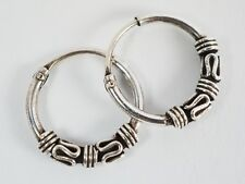 925 Silver Bali Tribal Fashion Earring Hoops Accesssories for Women / Men 1/2""