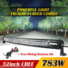 "7D+ Tri-Row 52inch 783W 78300LM Cuved LED Work Light Bar Spot Flood 50"" 30Days"