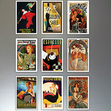 9 Vintage Retro Advert Poster Fridge Magnets Art Deco  No.3