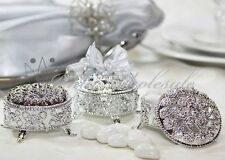 144 Silver Round Plastic Trinket Box Wedding Favor Table decorations