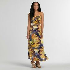 NEW Women Yellow Tropical Floral Summer Attention Maxi Long DRESS Sexy S SMALL