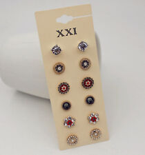 6 Pairs/Set Exquisite Korea Flower Crystal Rhinestone Lady Stud Earrings Quality