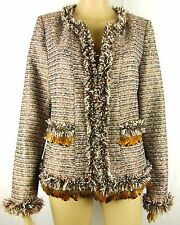 Boston Proper Womens size 10 Gold Tweed Feathers Chain Jacket Coat