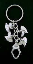 Shark Jaws Key Chain with Teeth  3/D  Silver tone